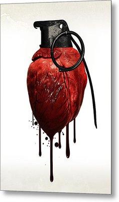 Heart Grenade Metal Print by Nicklas Gustafsson