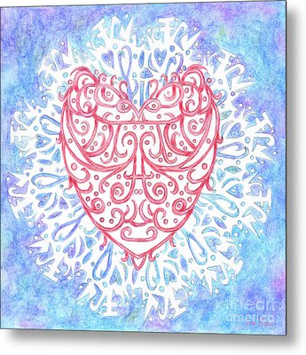 Heart In A Snowflake II Metal Print