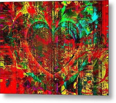 Heart In Flame Metal Print by Fania Simon