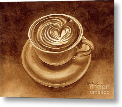Heart Latte Metal Print by Hailey E Herrera