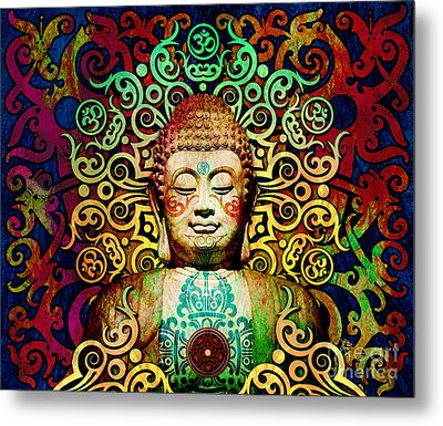 Heart Of Transcendence - Colorful Tribal Buddha Metal Print by Christopher Beikmann