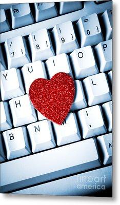 Heart On Keyboard Metal Print