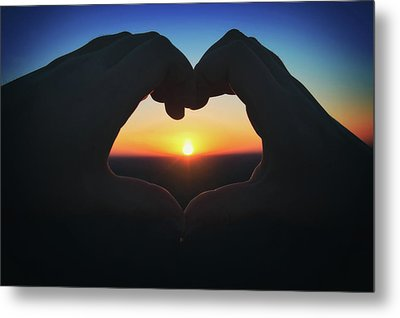 Metal Print featuring the photograph Heart Shaped Hand Silhouette - Sunset At Lapham Peak - Wisconsin by Jennifer Rondinelli Reilly - Fine Art Photography