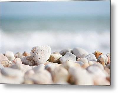Heart Shaped Pebble On The Beach Metal Print by Alexandre Fundone