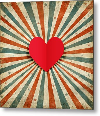 Heart With Ray Background Metal Print