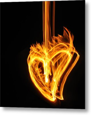 Hearts Aflame -falling In Love Metal Print by Mark Fuller