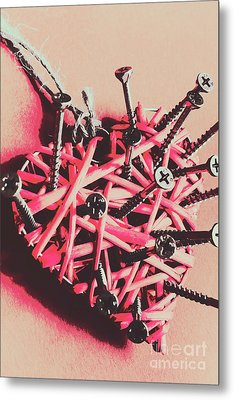 Hearts And Screws Metal Print