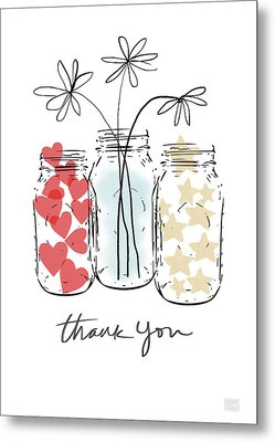 Hearts And Stars Thank You- Art By Linda Woods Metal Print