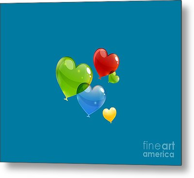 Hearts 11 T-shirt Metal Print by Herb Strobino