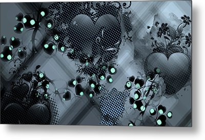 Hearts N' Vines Green Metal Print