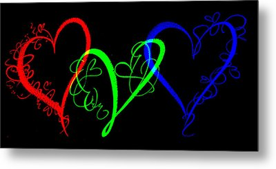 Hearts On Black Metal Print by Swank Photography