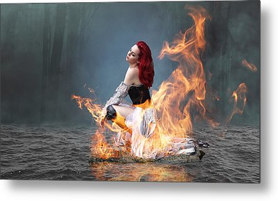 Metal Print featuring the mixed media This Girl Is On Fire by Marvin Blaine
