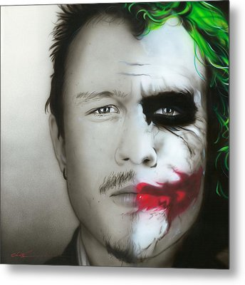 ' Heath Ledger / Joker ' Metal Print