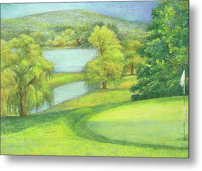Metal Print featuring the painting Heavenly Golf Course Landscape by Judith Cheng