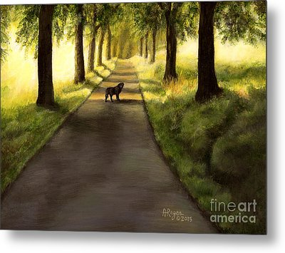 Serenity - Walk With Black Labrador Metal Print
