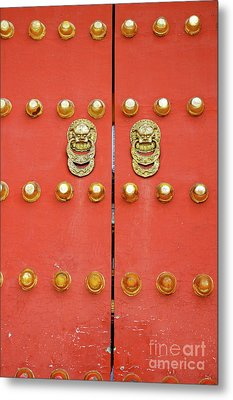 Heavy Ornate Door Knockers On A Gate Metal Print by Sami Sarkis