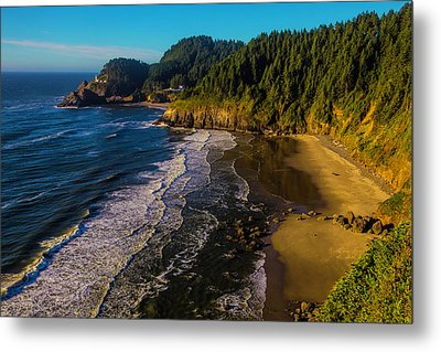 Heceta Head Lighthouse And Beaches Metal Print by Garry Gay