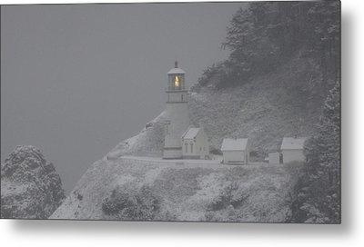Heceta Lighthouse Snowstorm Metal Print by Kenny Henson
