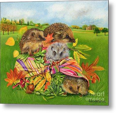Hedgehogs Inside Scarf Metal Print