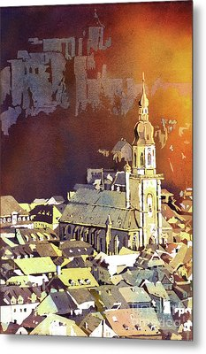 Metal Print featuring the painting Heidelberg Sunset- Germany by Ryan Fox