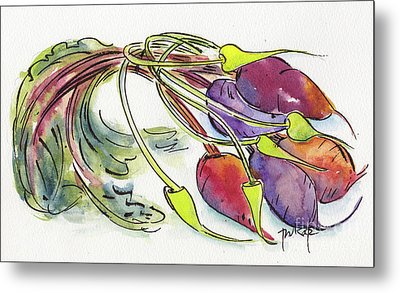 Metal Print featuring the painting Heirloom Beets And Garlic Scapes by Pat Katz