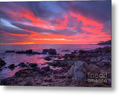 Metal Print featuring the photograph Heisler Park Tide Pools At Dusk by Eddie Yerkish