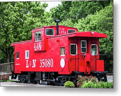 Metal Print featuring the photograph Helena Red Caboose by Parker Cunningham