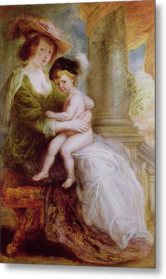 Helene Fourment And Her Son Frans Metal Print by Rubens