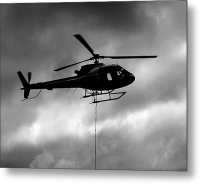 Helicopter In Sling Operations Metal Print by Wyatt Rivard