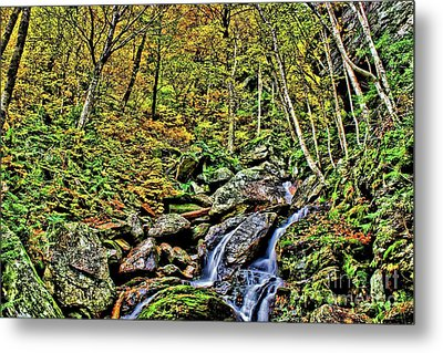 Hellbrook Cascades In Autumn Metal Print by Matthew Winn