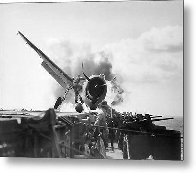 Hellcat Aircraft Slams Into U S S Enterprise Carrier  1943 Metal Print by Daniel Hagerman