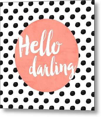 Hello Darling Coral And Dots Metal Print by Allyson Johnson