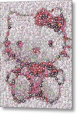 Hello Kitty Button Mosaic Metal Print by Paul Van Scott