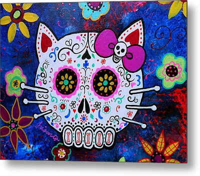 Kitty Day Of The Dead Metal Print by Pristine Cartera Turkus