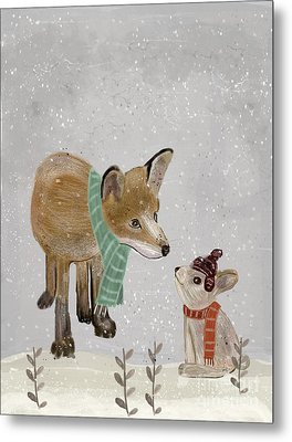 Metal Print featuring the painting Hello Mr Fox by Bri B