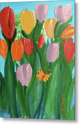 Hello Spring Tulips Metal Print