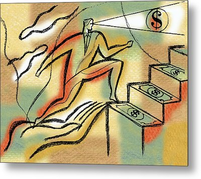 Metal Print featuring the painting Helping Hand And Money by Leon Zernitsky