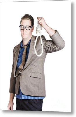 Helpless Businessman Holding Rope With Tied Noose Metal Print