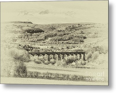 Hengoed Viaduct 2 Antique Metal Print by Steve Purnell