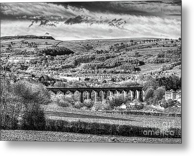 Hengoed Viaduct 2 Monochrome Metal Print by Steve Purnell