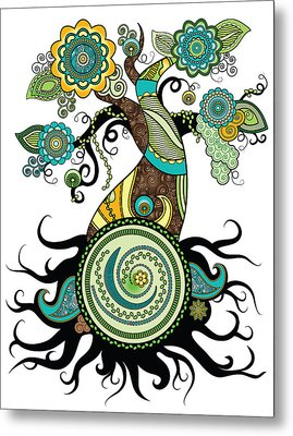 Henna Tree Of Life Metal Print by Serena King