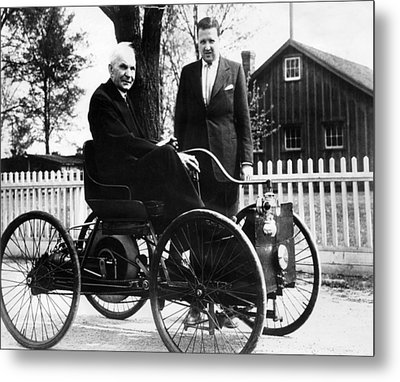 Henry Ford Sits In His First Ford Car Metal Print by Everett
