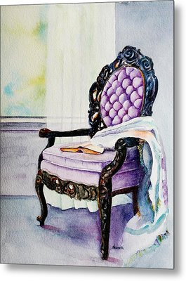 Her Chair Metal Print by Kathy Nesseth