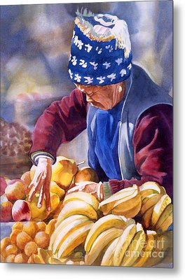 Her Fruitstand Metal Print by Sharon Freeman