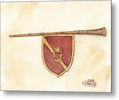 Heraldry Trumpet Metal Print by Ken Powers