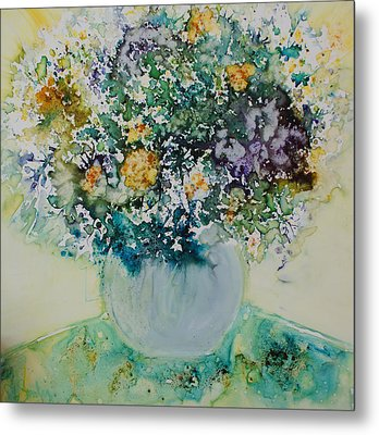 Metal Print featuring the painting Herbal Bouquet by Joanne Smoley