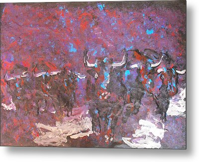 Herd Of Bulls Metal Print by Koro Arandia