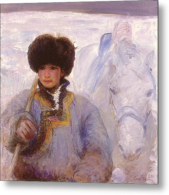 Herder And His Horse    Metal Print