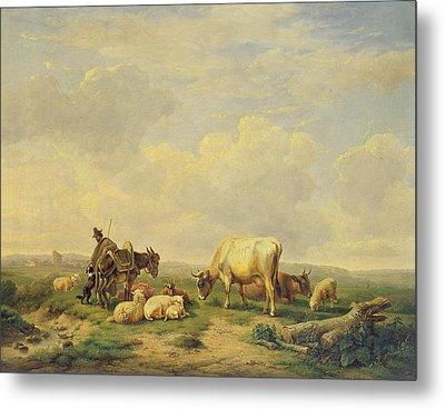 Herdsman And Herd Metal Print by Eugene Joseph Verboeckhoven
