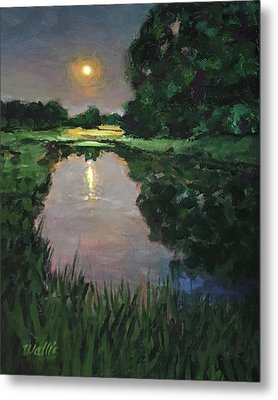 Here At The Night Pond Metal Print by Charles Wallis
